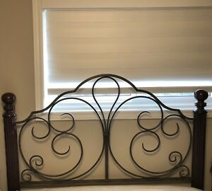 Queen head board with rails and mattress and box