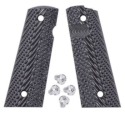 1911 G10 Magwell grips BlackGray + Silver stainless Torx grip screws, magwell