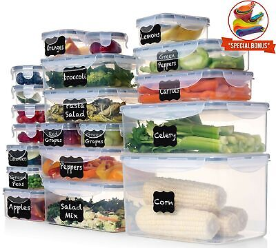 Plastic Storage Containers With Lids (Shazo (Set of 20) Food Storage Containers with Lids - Plastic Food)