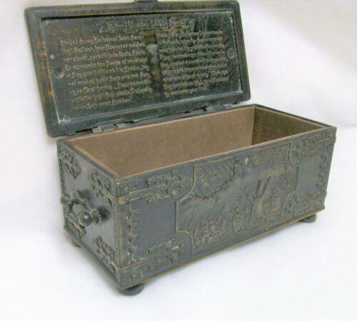 Bronze Embossed Casket Iron Art Hinged Box Copenhagen Denmark Ornate Decorated