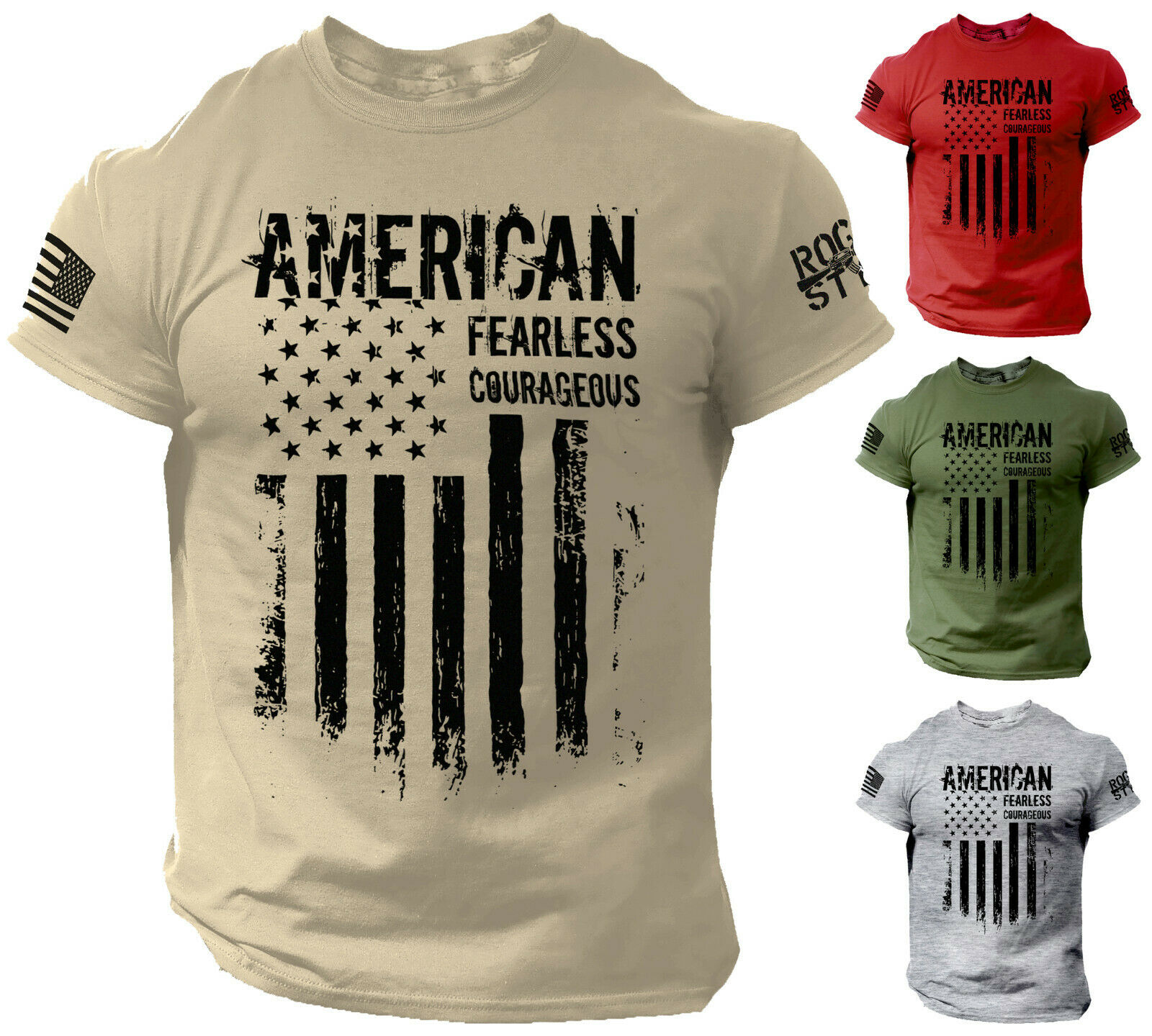 American T Shirt Fearless Courageous Distressed Flag Military Style Shirt Clothing, Shoes & Accessories