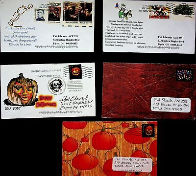 USA 2014 BAVARIAN SPORT/ HALLOWEEN 5 ARTIST DESIGN ACE COVERS W/ 9v TO ELYRIA OH