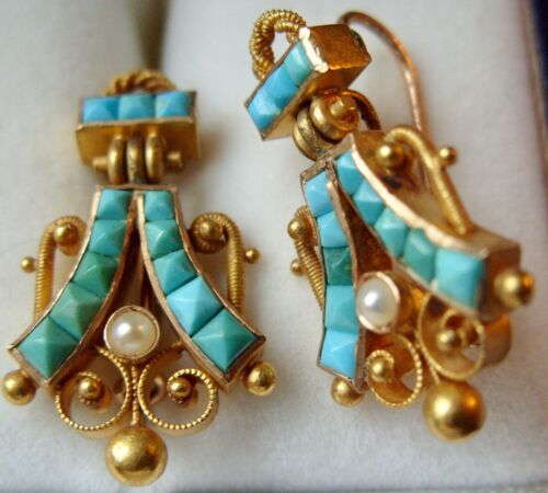 ANTIQUE VICTORIAN 10KT BLOOMED GOLD TURQUOISE SEED PEARL EARRINGS