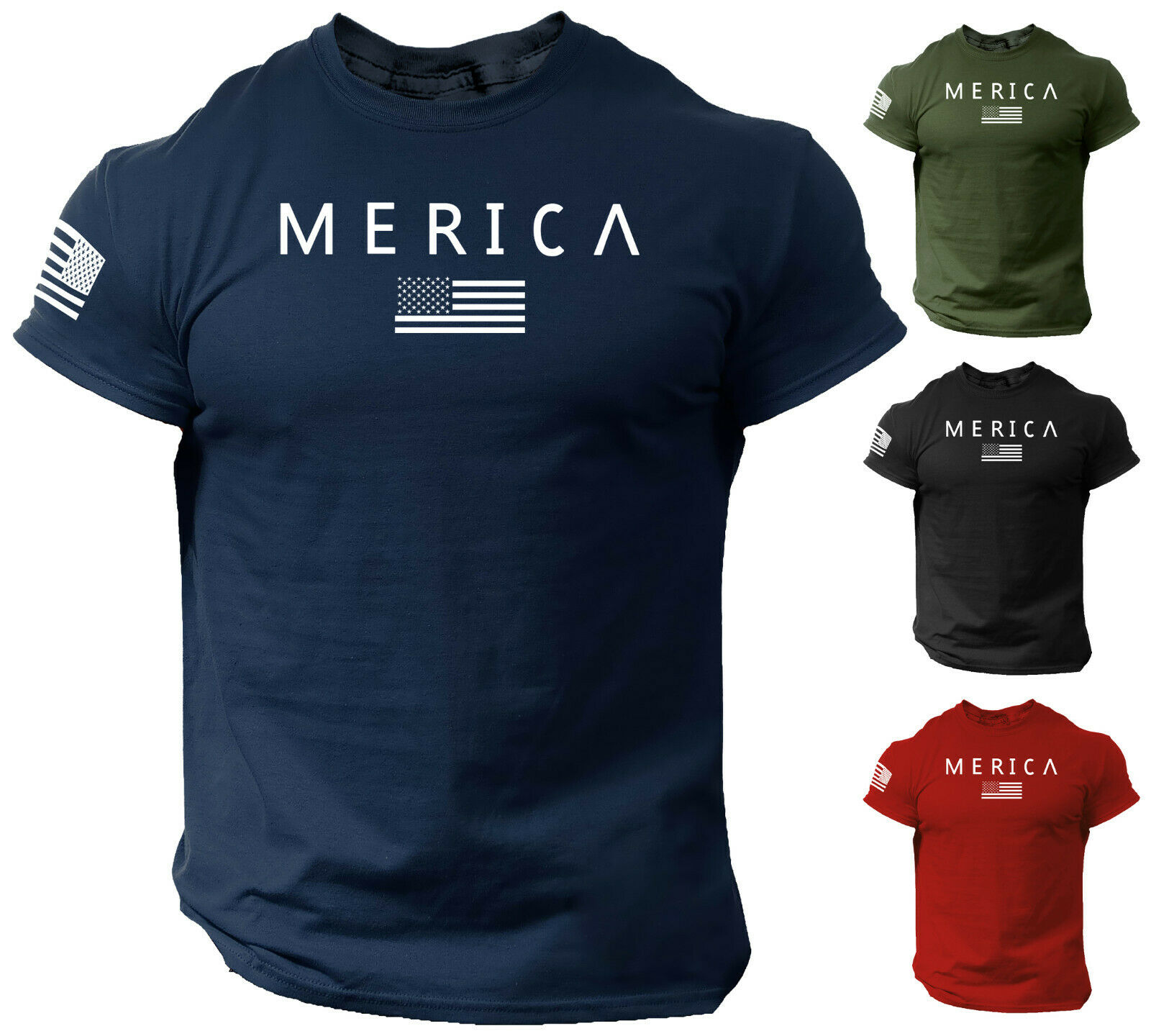 Merica Army StyleT Shirt US Flag American Military Gun Top Clothing, Shoes & Accessories