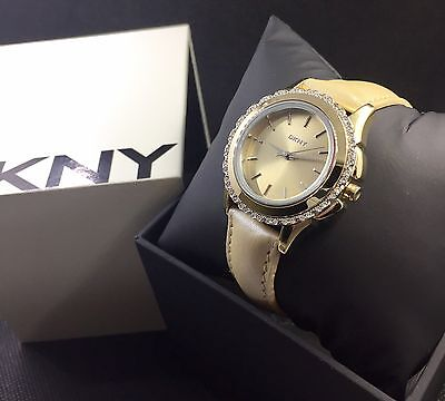 Dkny Champagne Leather Gold   Glitz Watch Ny8702 New   135 Sale
