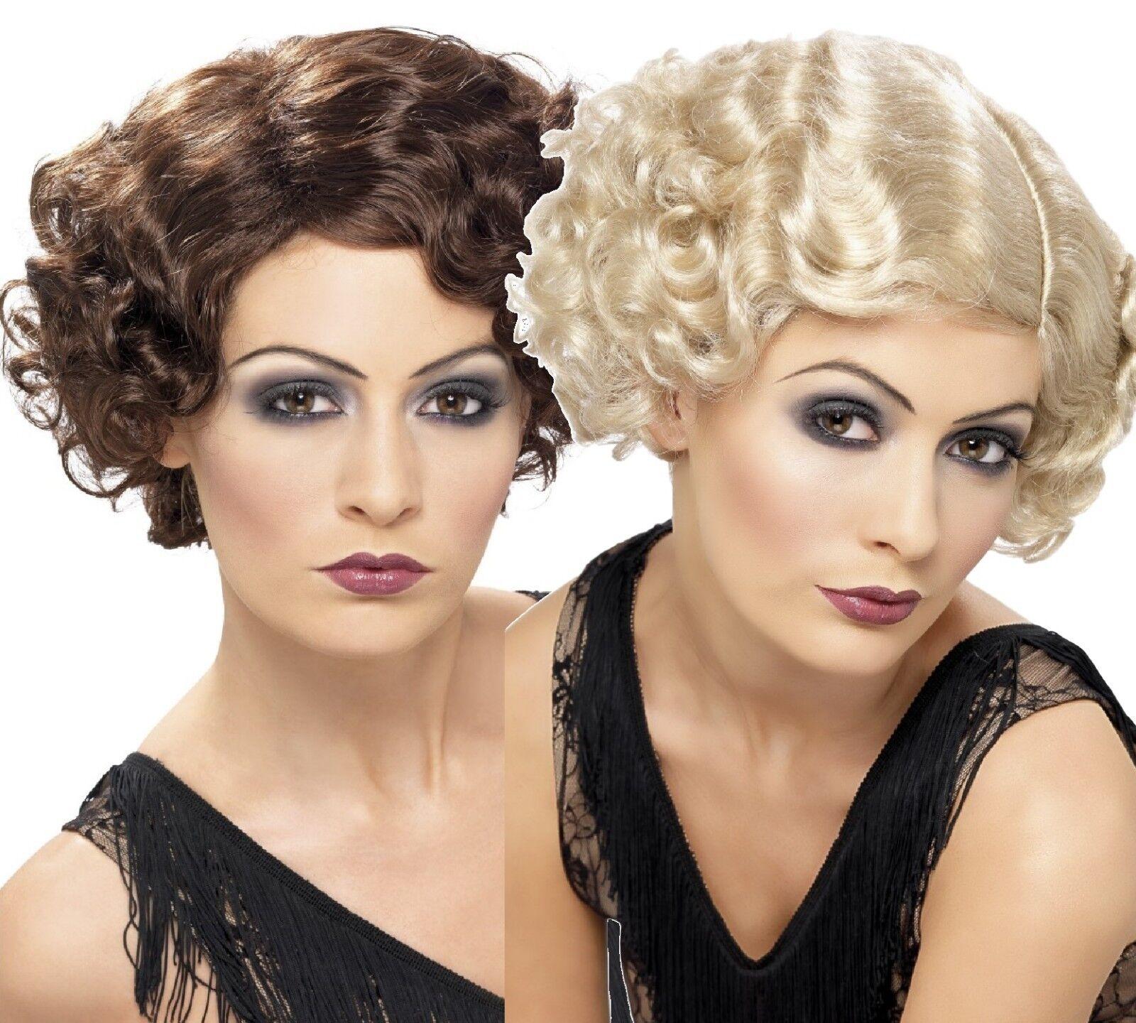 Blonde frisé perruque avec bandeau et plume 1920 charleston burlesque robe fantaisie