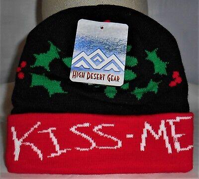Mistle Toe Hat (NEW Adult Mistletoe Acrylic Knit Beanie Hat Skull)