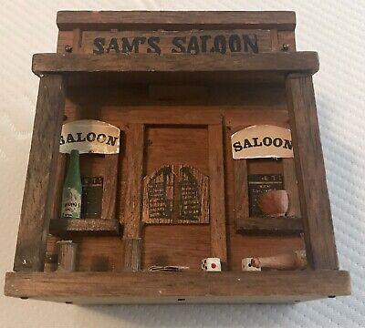 Vintage RARE Enesco Old Western Sam's Saloon Decorative Cowboy Box (Old Western Saloon Decor)