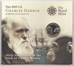 RARE 2009 £2 POUND COIN Charles Darwin 200th Anniversary - BU Presentation Pack