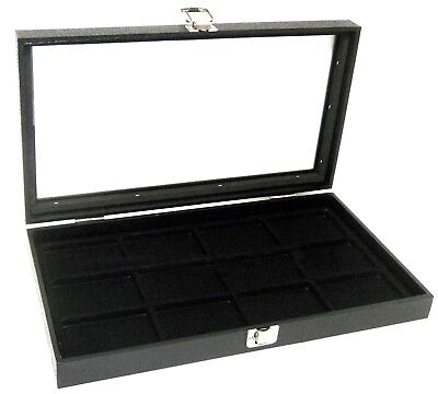 1 Glass Top Lid Black 12 Space Collectors Jewelry Display Box Case