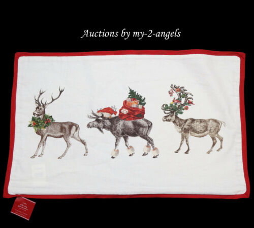 NWT Pottery Barn Christmas Holiday SILLY STAG Lumbar Pillow Cover * reindeer