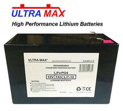 2X ULTRAMAX 12V 7AH Litio Ion Batería Coche Juguete Eléctrico Moto Feber...