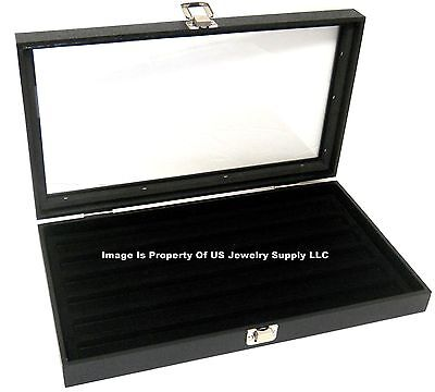 1 Glass Top Lid Black 6 Slot Collectors Jewelry Organizer Display Case