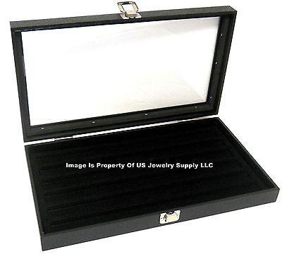 1 Glass Top Lid Black 6 Slot Collectors Jewelry Organizer Display Case