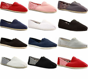 WOMENS-LADIES-FLAT-DECK-SLIP-ON-CANVAS-ESPADRILLES-PLIMSOLES-PUMPS-SHOES-SIZE