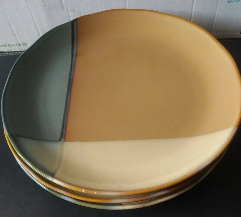 "3 Sango "" Gold Dust Green"" 8"" Inch Salad Plates"