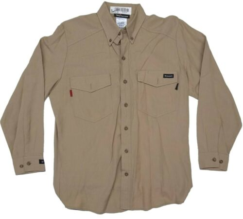 Used Flame Resistant FR Retardant Work Shirts Khaki Workrite, Aramark, Big Bill