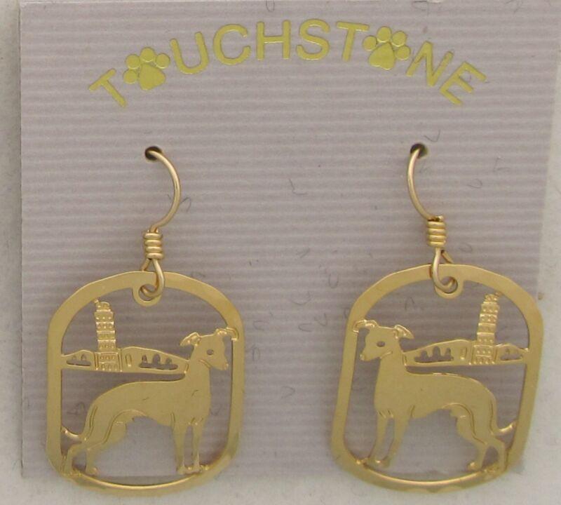 Italian Greyhound Jewelry Gold Dangle  Earrings by Touchstone