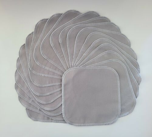 """Cloth Wipes 20 Flannel 8"""" Adult Grey Reusable TP Baby Tissue Napkin 1 or 2 Ply"""