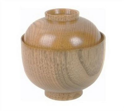 - Wooden Rice Miso Soup Bowl with Lid 45-35 S-3362 AU