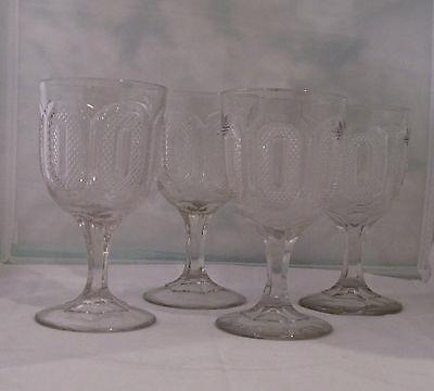4 EAPG FLINT GLASS BUCKLE PATTERN GOBLETS