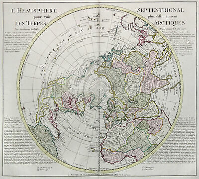 Northern Hemisphere Original Copperplate Map Covens Mortier 1740
