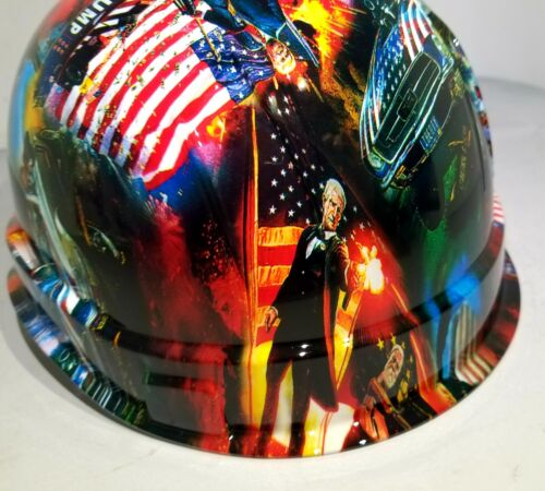 Hard Hat Cap style Custom hydro dipped DONALD TRUMP MAGA FACTORY APPROVED NEW 4