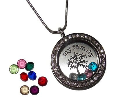 Floating Charm Necklaces (My Family Tree Birthstone Locket Necklace - Floating Glass Charm Jewelry)