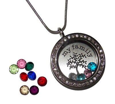 My Family Tree Birthstone Locket Necklace - Floating Glass Charm Jewelry USA - Family Tree Birthstone Necklace