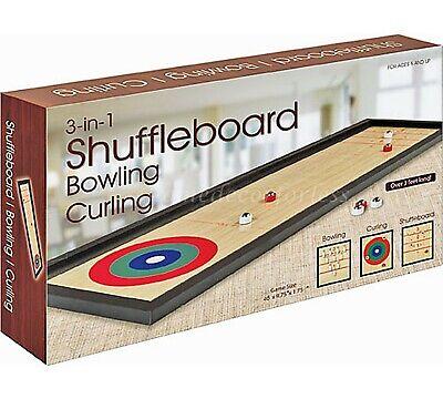 Westminster Tabletop 3 In 1 Shuffleboard Bowling Curling Game Set Family Fun