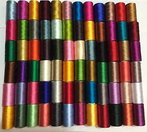 100-X-Grande-Arte-Seda-Rayon-100-Costura-Hilos-De-Bordado-Vibrent