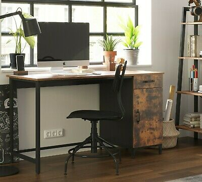 Large Industrial Computer Desk Rustic Workstation Unit W/ Storage Cabinet Office