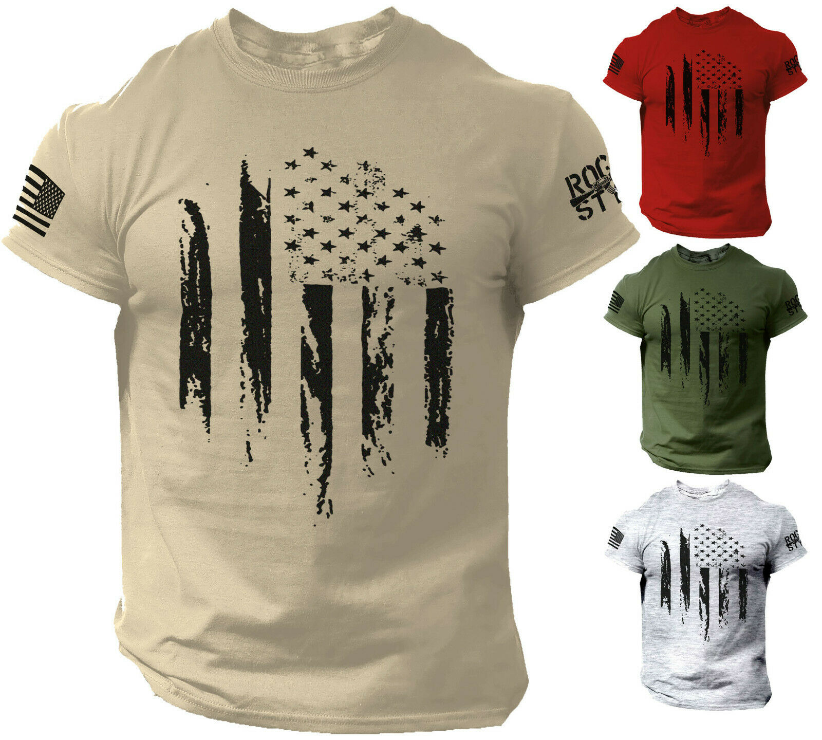 USA Distressed Flag T Shirt American Patriotic Tee Clothing, Shoes & Accessories