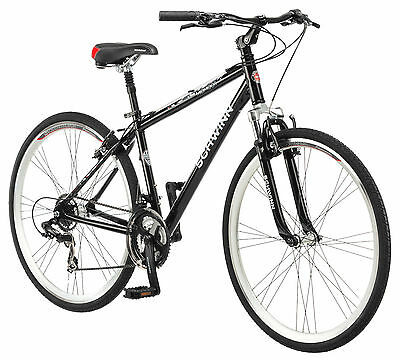 700c Schwinn Men's Midmoor Comfort Hybrid Bike, White/Black