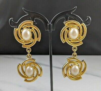 Lovely Vintage Gold-plated Faux Pearl Clip-on Earrings by Paulo Gucci 1980's