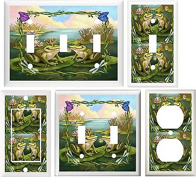 - FROGS BUTTERFLIES DRAGONFLY & WATER LILIES SO CUTE  SWITCH OR OUTLET COVER V580