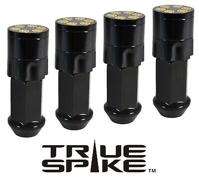 20 TRUE SPIKE 71MM 14X2.0 STEEL EXTENDED BLACK REVOLVER BULLET SPIKED LUG NUTS