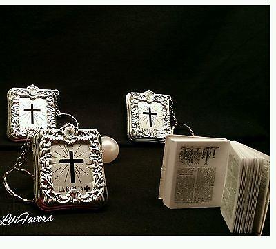 24 Baptism Mini Bibles Favors Keychains Party Recuerdos De Mi Bautizo Communion