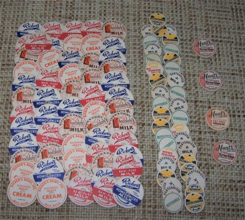 Vintage Cardboard Milk Bottle Cap  Assorted Sizes   Lot of 95