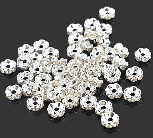 50 x 6mm Rhinestone Crystal Diamante Silver Plated Rondelle Spacers Beads