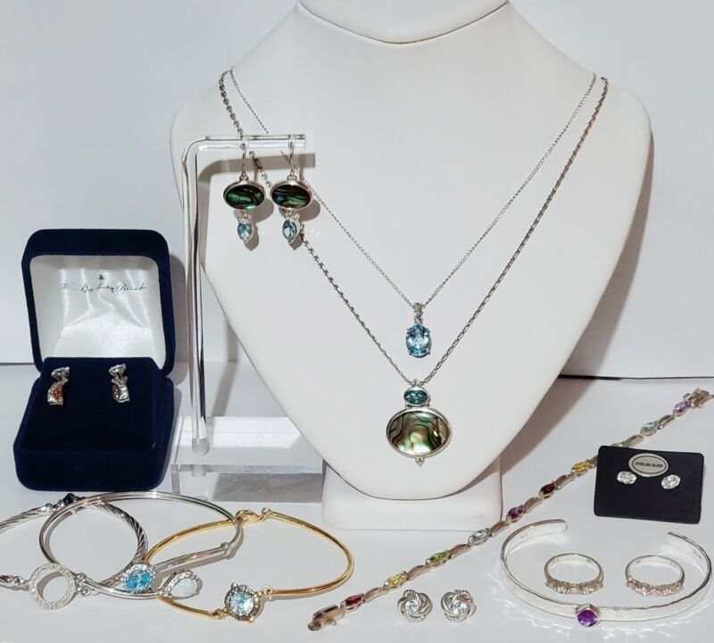 13 Piece Sterling Silver 925 Gemstone Jewelry Lot. Amethyst, Opal, Amethyst.