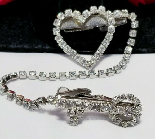 Vintage Silver Heart Skeleton Key Rhinestone Sweater Guard