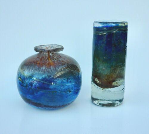 Vintage ISLE OF WIGHT Studio Art Glass Aurene Vase Set