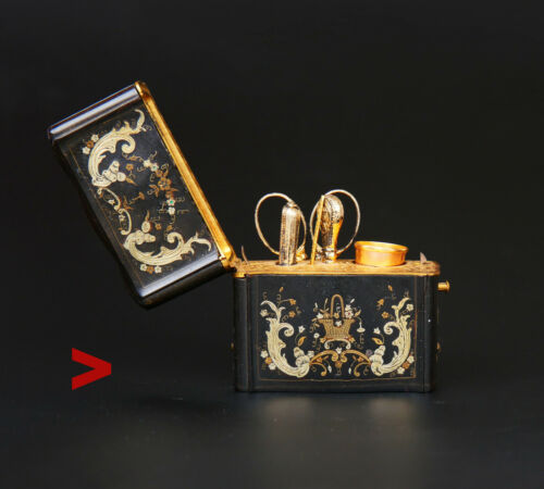 Antique French Boulle Sewing Work Kit Set  Etui Silver 18K Gold / 97 gr.
