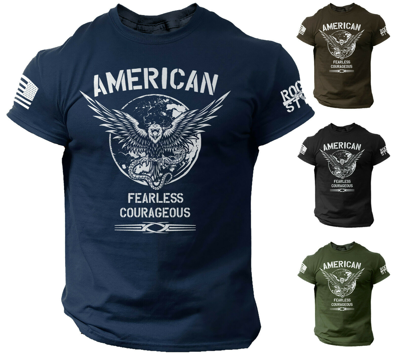 American Men's T Shirt Fearless Courageous USA Warrior Tee Rogue Style Clothing, Shoes & Accessories