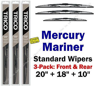Wiper Blades 3-Pack Front Rear Standard 2005-2007 Mercury Mariner 30200/180/10-1