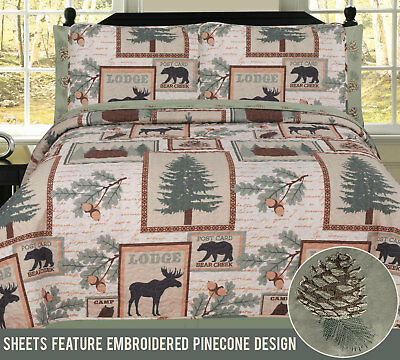 Twin, Full, Queen or King Elk Bear Rustic Lodge Cabin Quilt and Sheet Bed (Bears Full Bed)