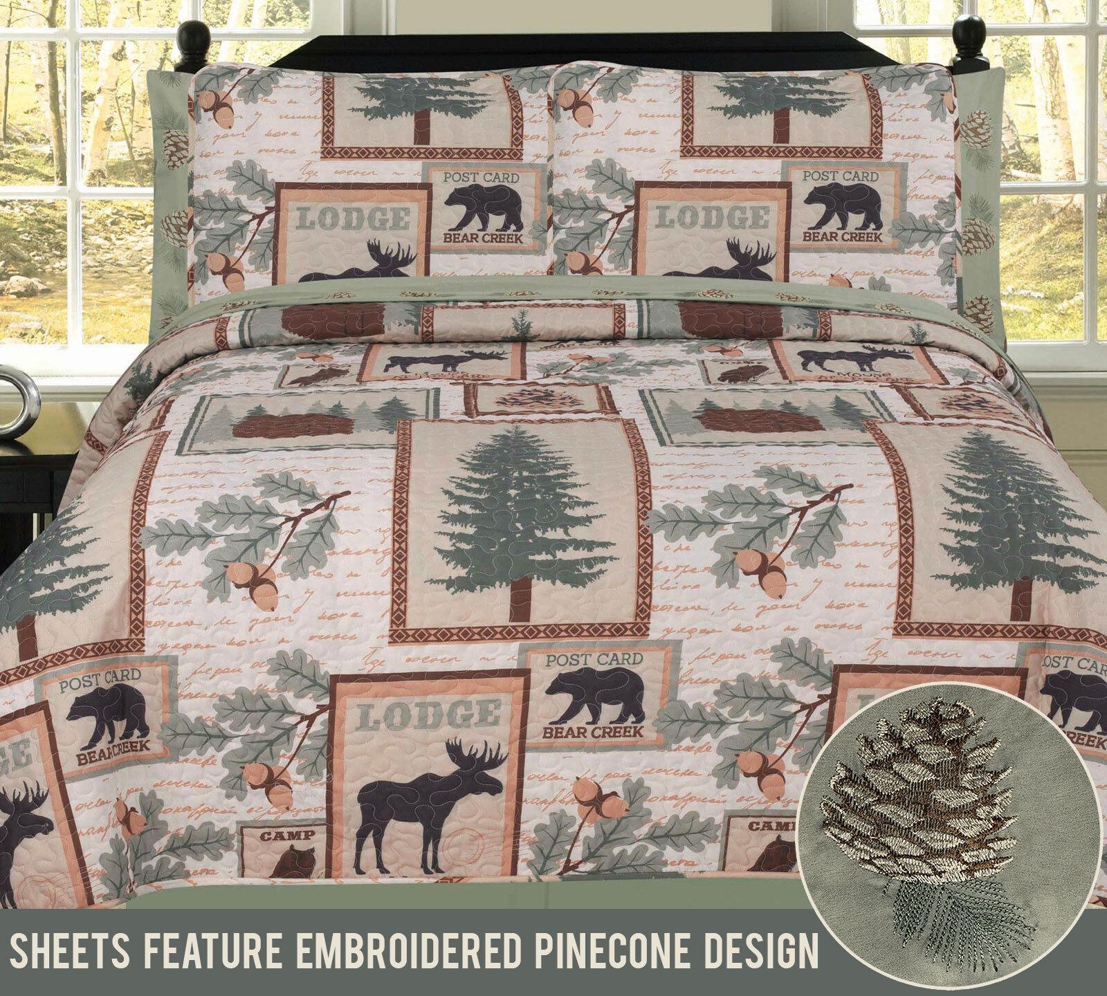 Twin, Full, Queen or King Elk Bear Rustic Lodge Cabin Quilt