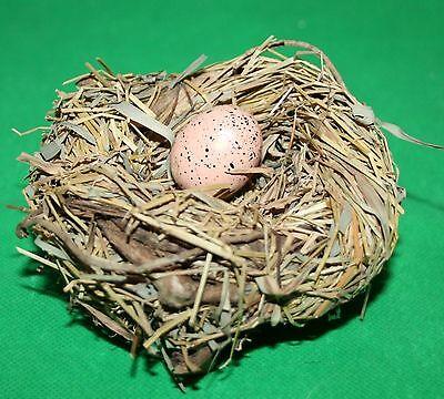 Ostern Vogelnest mit 1 Ei  11 cm d  bis 6 cm h  Stroh gebunden Reisigstücke