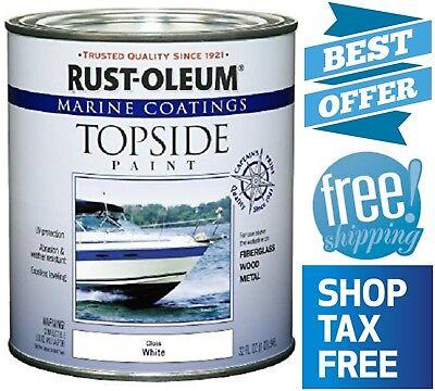 (Rust-Oleum Marine Boat Topside Paint Gloss White UV Resistant 1-Quart Oil-Based)